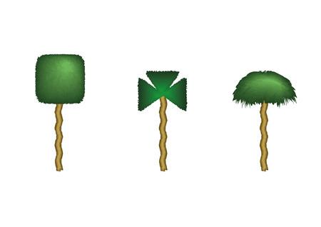 Three isolated Fantasy trees with strange shapes. Vector illustration 向量圖像