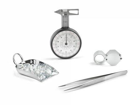 Diamond Tools on White Background Stock Photo