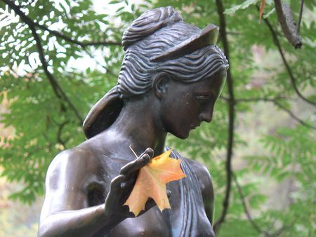 Statue with leaf
