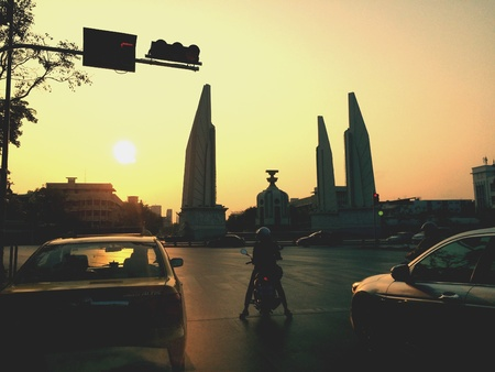 democracy Monument: Democracy monument junction in silhouette Bangkok Thailand. Stock Photo