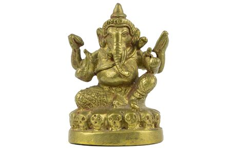 closeup Hinduism god Ganesha statuette symbolizes wisdom, understanding, and  a discriminating intellect,  on white background. Stockfoto