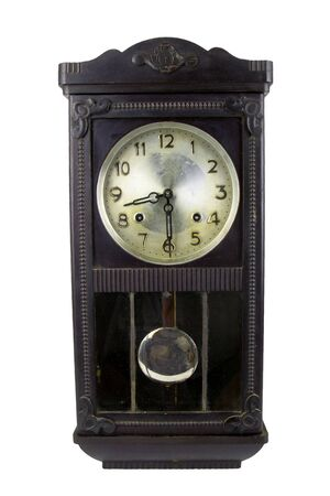 antique black pendulum  wall clock on white background