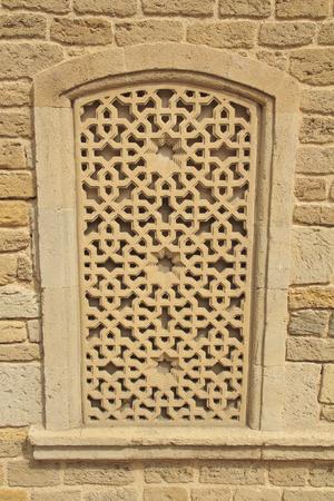 Decorative window in Baku. Window background texture