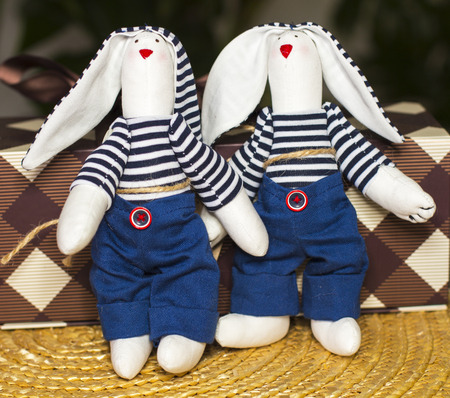 Handmade textile rabbits toys, home workshop, One pair of textile bunnies