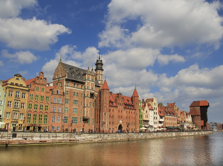 Panoramic view of Motlawa river waters. City of Gdansk , Poland