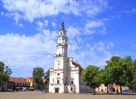 View of City Hall in old town. Kaunas, Lithuania 版權商用圖片