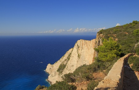 Beautiful vibrant landscape on top of the cliffs on the island Zakynthos