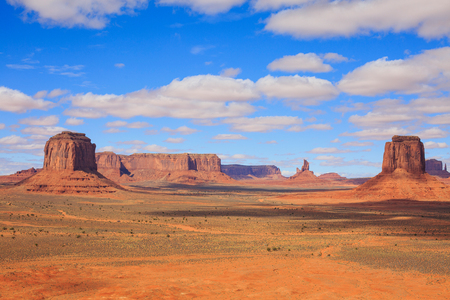 Panorama with famous Buttes of Monument Valley from Arizona, USA. Red rocks landscape