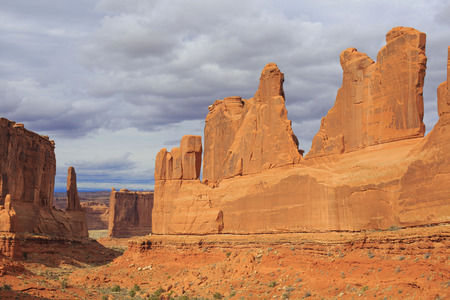 Park Avenue Viewpoint in Arches National Park. Moab, Utah, USA. Red rocks landscape Stock Photo