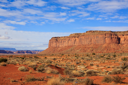 Wide open desert space with abundant spring greenery with blue sky and red mountains in distance, Utah, USA 免版税图像