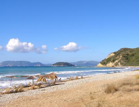 View of Gerak s beach with sunbeds and umbrellas, Greece 写真素材