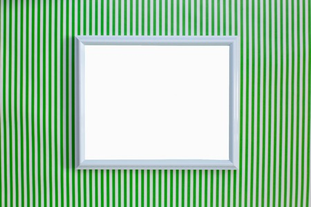 White frame on a green and white striped background, minimalism. Blog template. Minimal natural luxury. Sticker for posts. Copy space