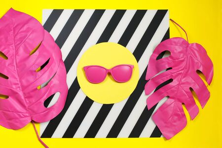 Pink tropical palm leaf of monstera and sunglasses Foto de archivo
