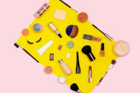 Decorative cosmetic set. Makeup cosmetics tools background and beauty cosmetics. on color background.
