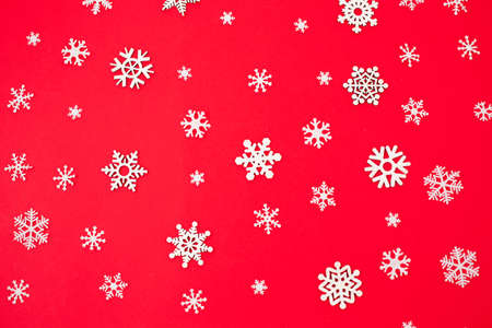 Snowflakes on a red background. Christmas and New Year