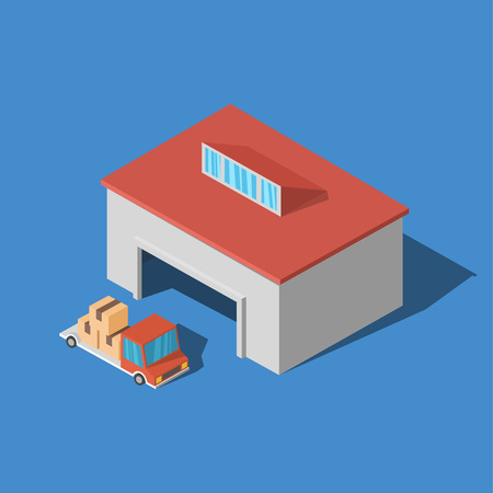 Warehouse with fully uploaded truck 3D isometric Vector Illustration