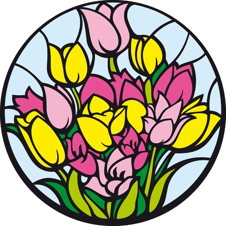 round window: Stained-glass tulips. A bouquet of tulips looks like a stained-glass window.