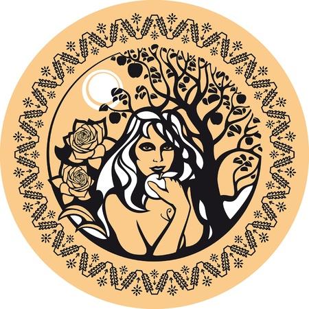 Agosto. Hay una mujer bajo un �rbol con una manzana. Ella simboliza el verano. Agosto es el tiempo para disfrutar de la generosidad de la naturaleza.