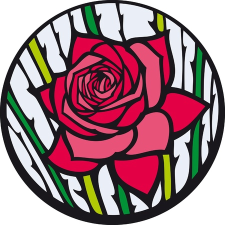 Stained-glass rose. Red rose looks like a stained-glass window. Vector