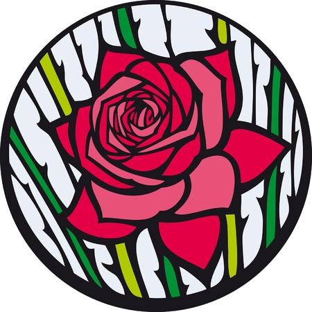 Vidriera de colores rosa. Rosa roja se parece a una vidriera.