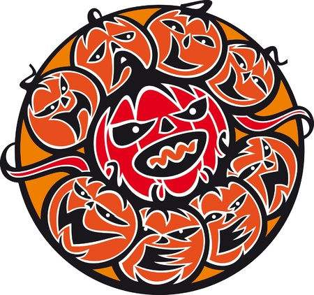 Halloween. The composition of pumpkins is in a circle. The pumpkins open mouths. Mouths are in the form of letters form the word