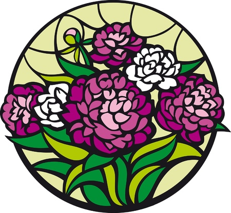 glass window: Stained-glass peonies. A bouquet of peonies looks like a stained-glass window.
