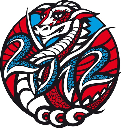 2012 - year of the dragon. There is a dragon in a circle with the date 2012. Illustration