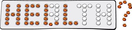 передозировка: Врачебные ошибки. Клетки для таблеток помещают в блистер в виде слово здоровья. Некоторые таблетки использовали. Таблетки в блистерной образуют слово ад. Есть несколько концепций: врачебные ошибки, выбрать правильный рецепт; передозировке; остановки наркотиков Иллюстрация