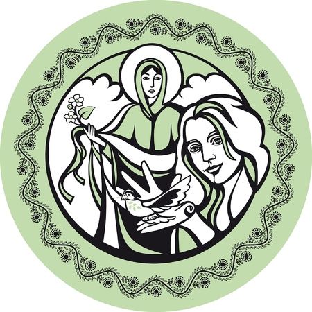 May. There are Mother Mary and the woman with a dove. They symbolize Mother`s Day and peace.