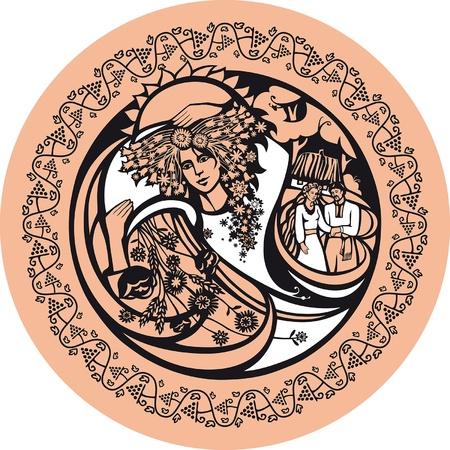 De septiembre. No es una mujer con corona de flores. Ella simboliza el oto�o. En el fondo de la pareja en contra. Septiembre es el momento para las bodas.