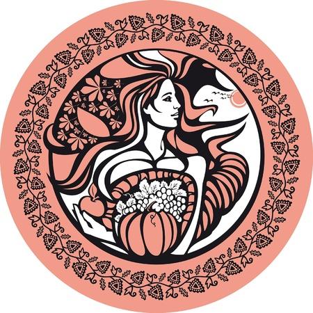 Oktober. Es gibt eine Frau, die ein Füllhorn hält. Sie symbolisiert einen Herbst und Fruchtbarkeit des Bodens.