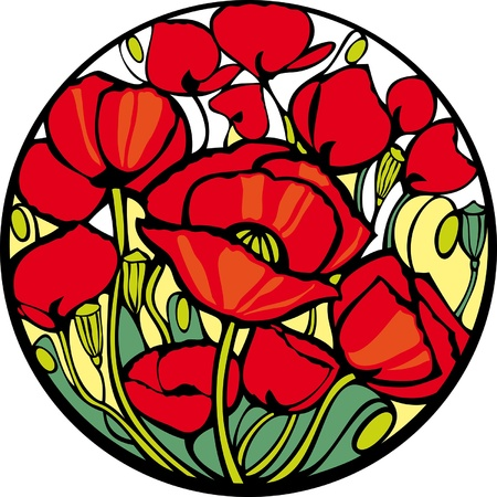 Poppies. There are many red poppies in the circle. Vector
