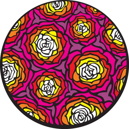 Roses  There are many roses in the circle  Illustration