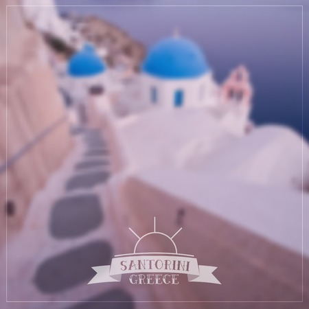 down town: Vector blurred background - Oia town, on the Greek Santorini island (Thira). Illustration