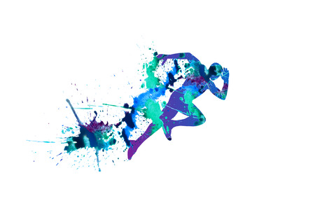 Vector illustration: sprinter. Running man. Spray watercolor paint on a white background