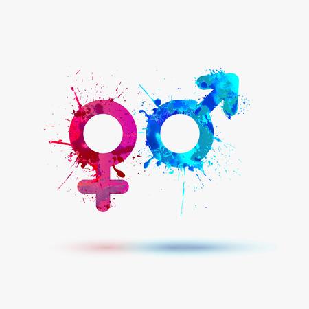 vrijen: Mannelijke en vrouwelijke waterverf van symbolen