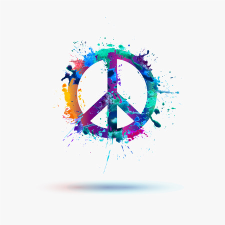 peace and love: Vector peace symbol in watercolor splashes