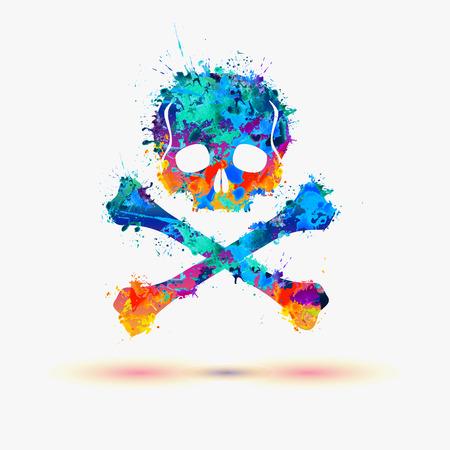 vector skull danger sign: Skull. Vector watercolor splash illustration Illustration
