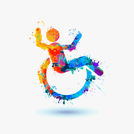 wheelchair man: Happy invalid people. life-asserting watercolor sign. Vector