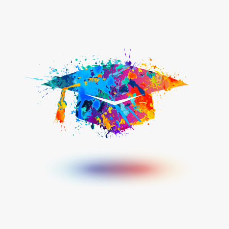 bachelor: Mortar Board Graduation Cap vector watercolor icon Illustration