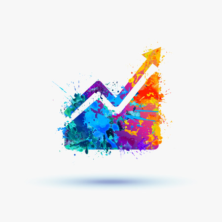 Vector watercolor Infographic, Growing sales chart icon Illustration