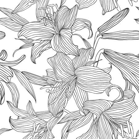 Seamless vector pattern - flowers lily. Black lines on white Ilustração