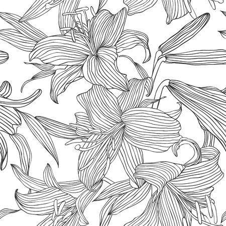 Seamless vector pattern - flowers lily. Black lines on white Illustration