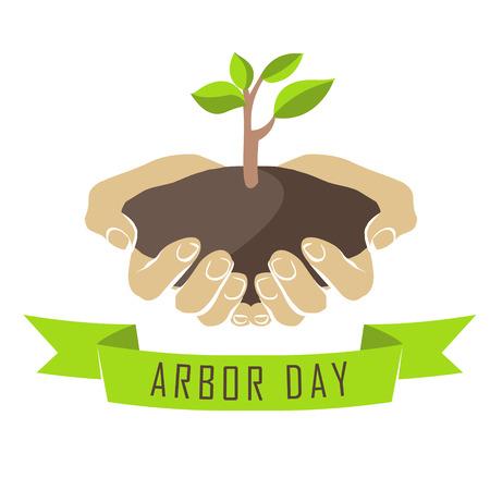 seedlings: Vector illustration: Hands with tree seedlings. Arbor day.