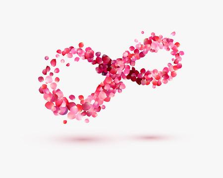 signo de infinito: Símbolo del infinito amor de pétalos de rosa sobre un fondo blanco Vectores