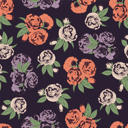 Seamless pattern with roses on dark background Illustration
