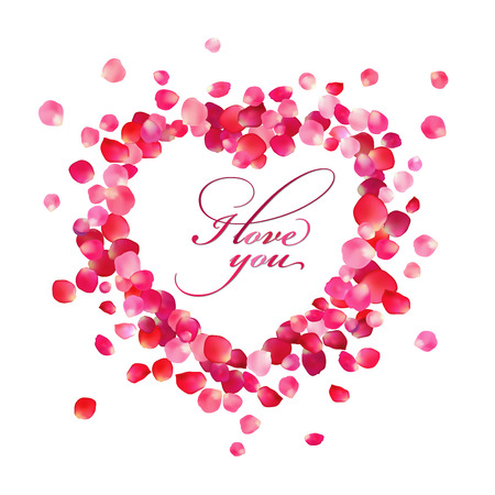Inscription of I love you inside the heart of rose petals on white background