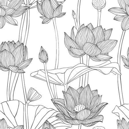 선형 원활한 패턴 - 연꽃. 일러스트