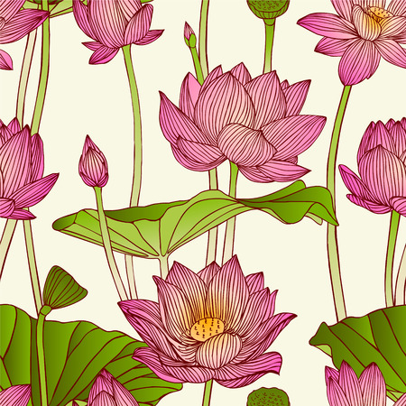 Vector seamless pattern - lotus flowers