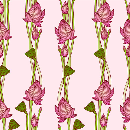 lotus leaf: floral vertical stripes. Vector seamless pattern - lotus flowers Illustration